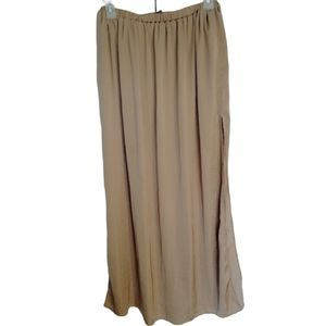 ZARA trafaluc Brown Tan satin side slit maxi skirt